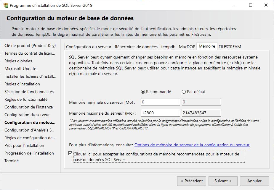 Programme d'installation de SQL Server 2019 > Configuration du moteur de bases de données > Mémoire