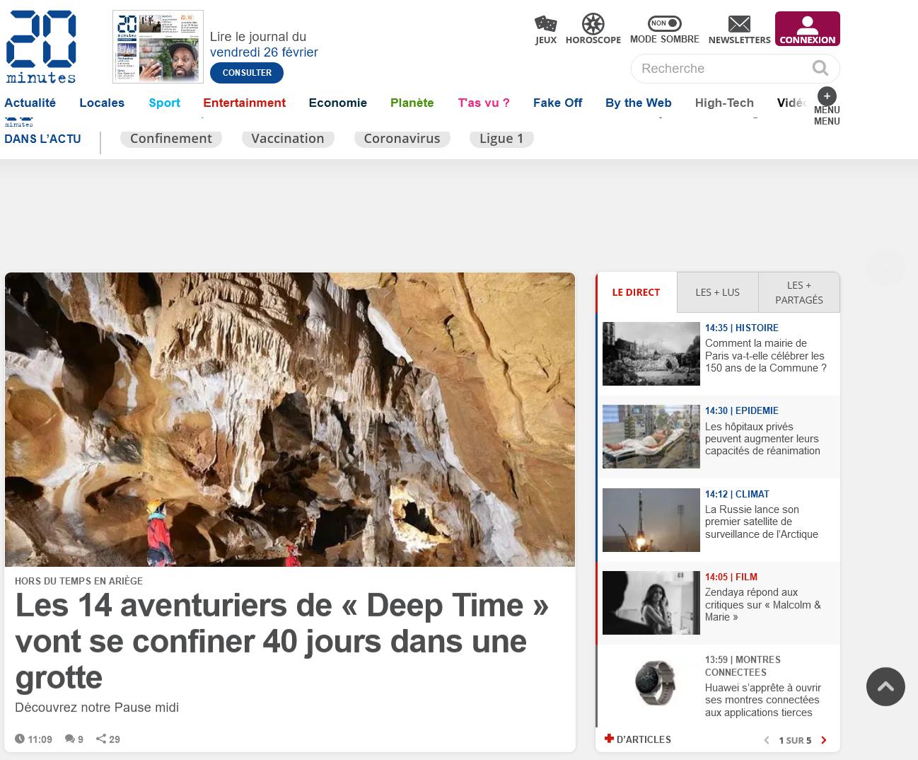 20 minutes : seul titre de presse quotidienne nationale au contenu web gratuit