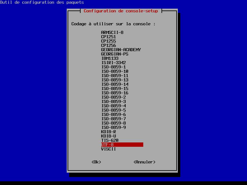 dpkg-reconfigure console-setup > codage