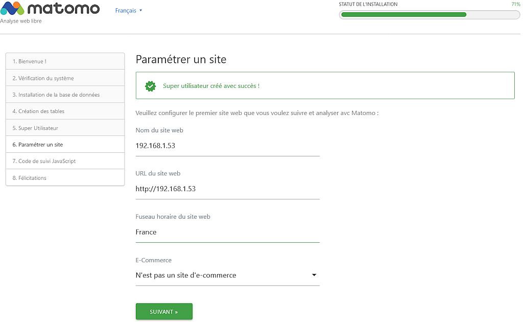 Matomo > Installation > Paramétrer un site