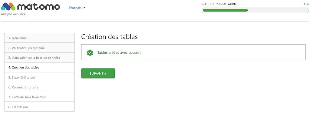Matomo > Installation > Création des tables