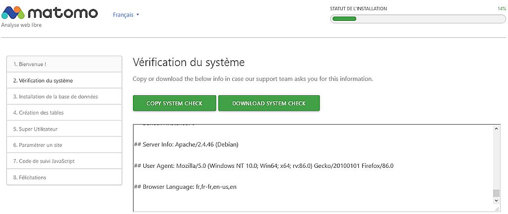 Matomo > Installation > Vérification du système