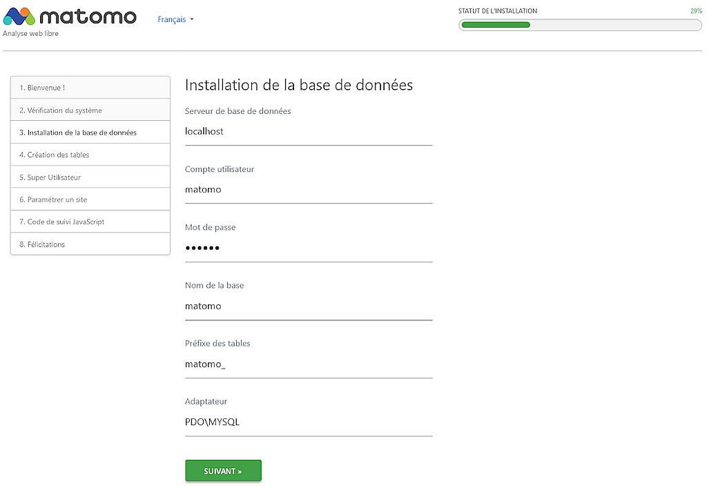 Matomo > Installation > Base de données