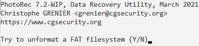 PhotoRec > Unformat FAT filesystem