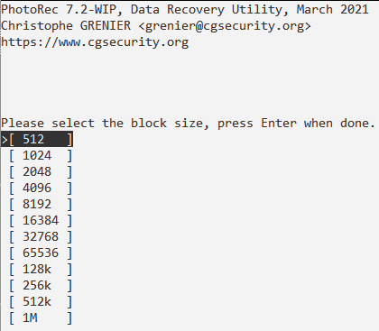 PhotoRec > Select Block Size