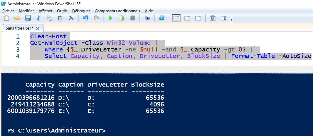 PowerShell : la taille des blocs des partitions NTFS