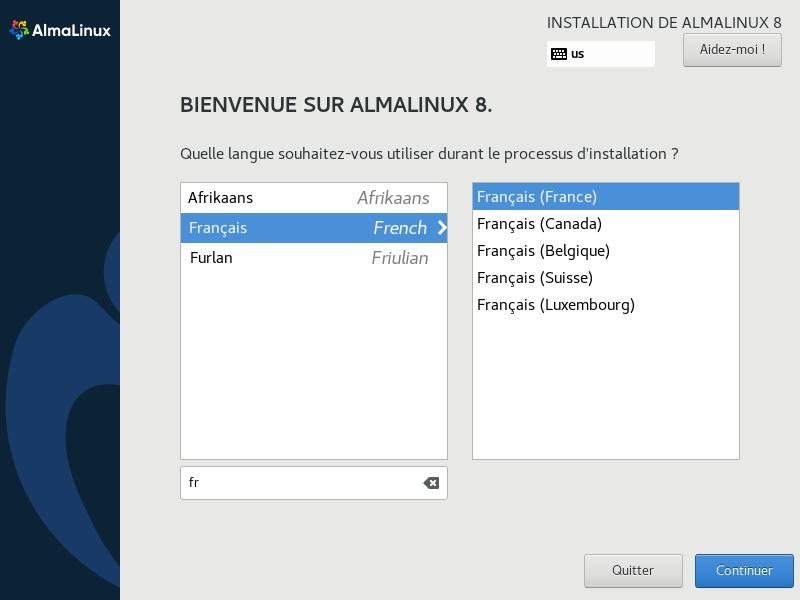 Install de AlmaLinux 8 > Choix de la langue
