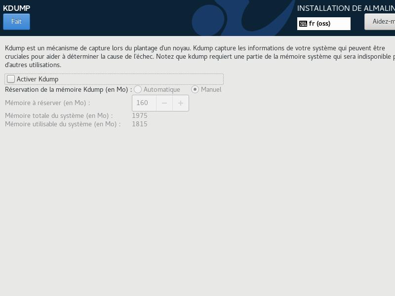 Install de AlmaLinux 8 > Kdump