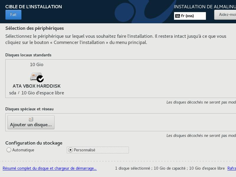 Install de AlmaLinux 8 > Cible de l'installation