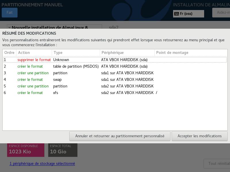 Install de AlmaLinux 8 > Résumé des modifications