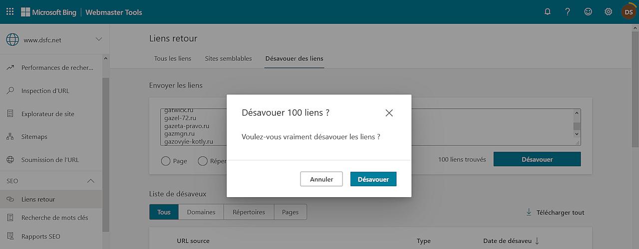 Bing Webmaster Tools > Liens retour > Désavouer des liens