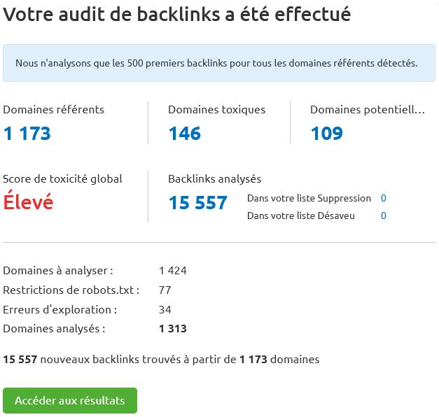 Semrush > Audit de backlinks