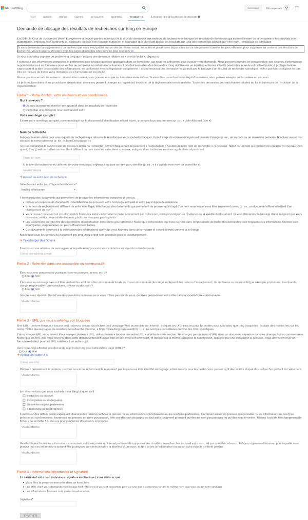 Bing > Demande de blocage des résultats de recherches sur Bing en Europe