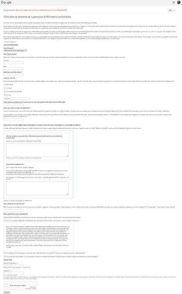 Google > Suppression dans le cadre de la loi européenne sur la confidentialité / Formulaire de demande de suppression d'informations personnelles