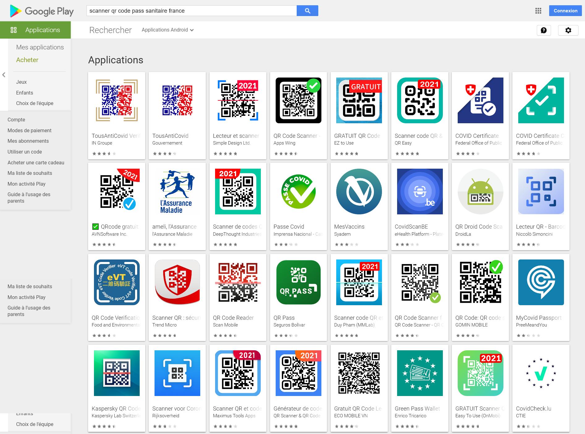 Recherche dans le Play Store des applications de scan du QR Code associé au pass sanitaire