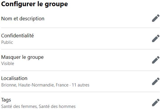 Facebook > Groupe > Paramètres > Configurer le groupe