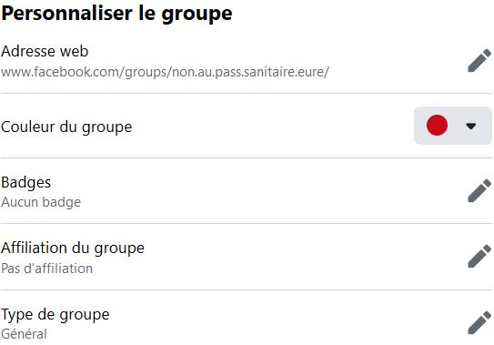 Facebook > Groupe > Paramètres > Personnaliser le groupe