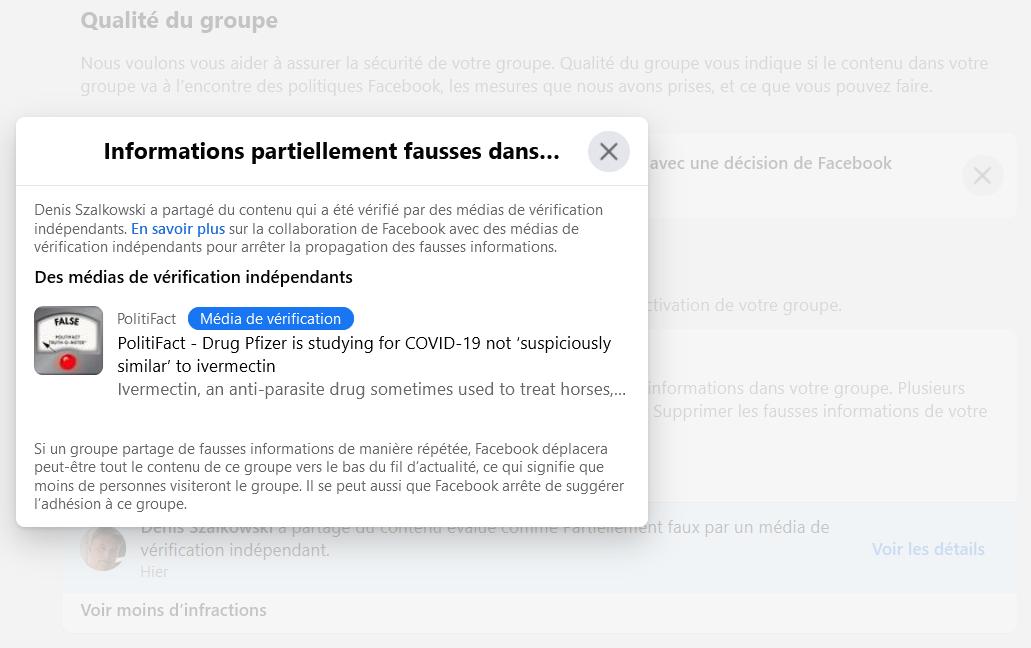 Facebook > Groupe > Paramètres > Qualité du groupe