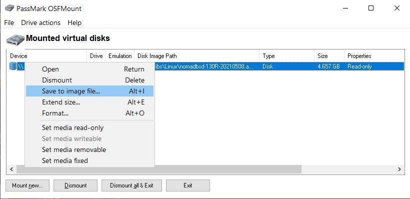 PassMark OSFMount -> Save to image file