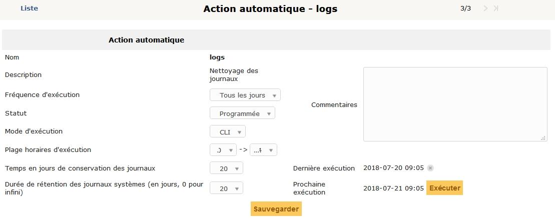 GLPI > Configuration > Actions automatiques > logs