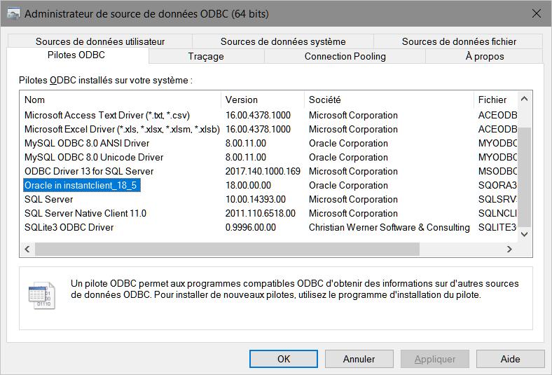 Administrateur de source de données ODBC