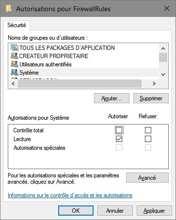 Autorisation pour FirewallRules
