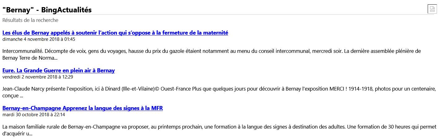 Bing Actualités au format RSS