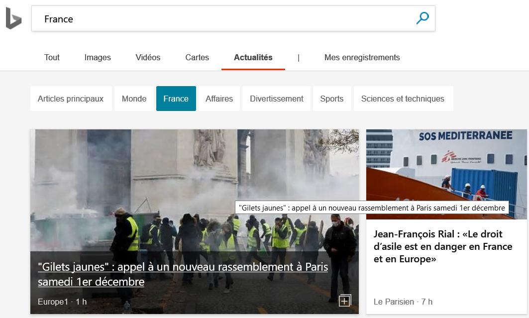 Bing Actualités