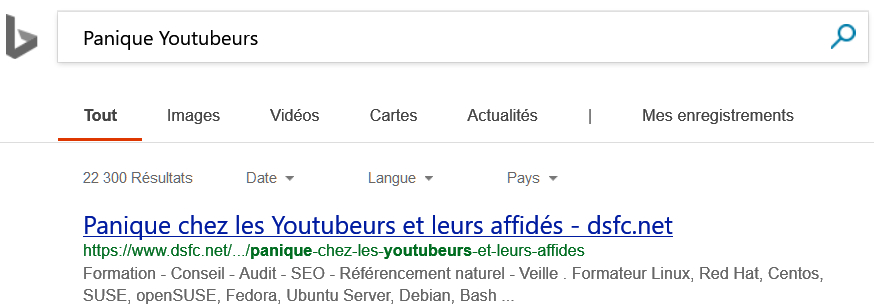 Bing Search > Panique chez les Youtubeurs