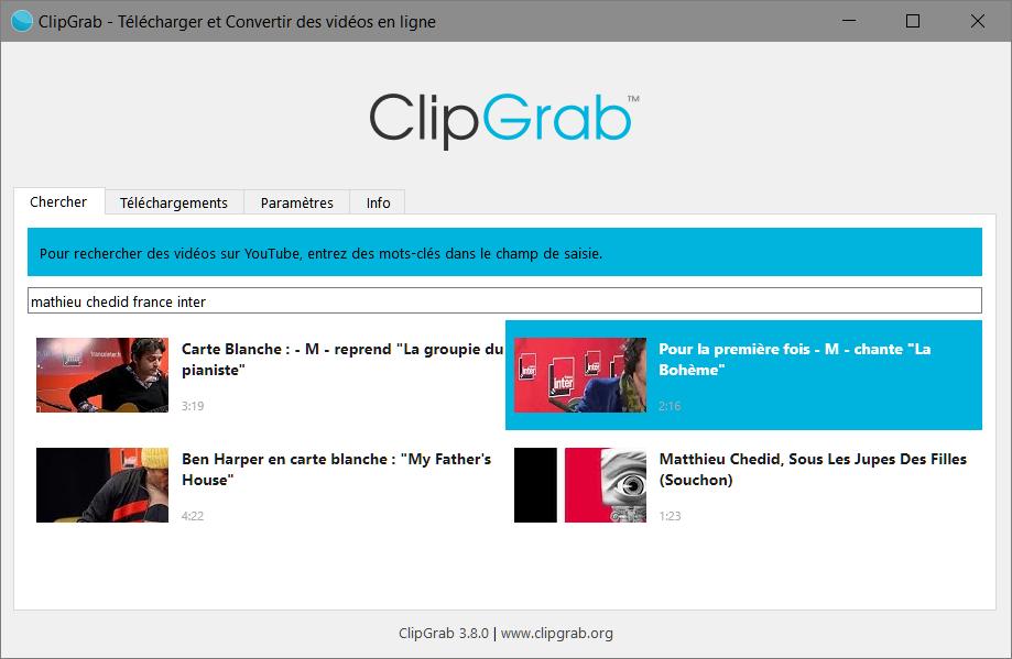 Télécharger les vidéos et les musiques sur Youtube avec ClipGrab