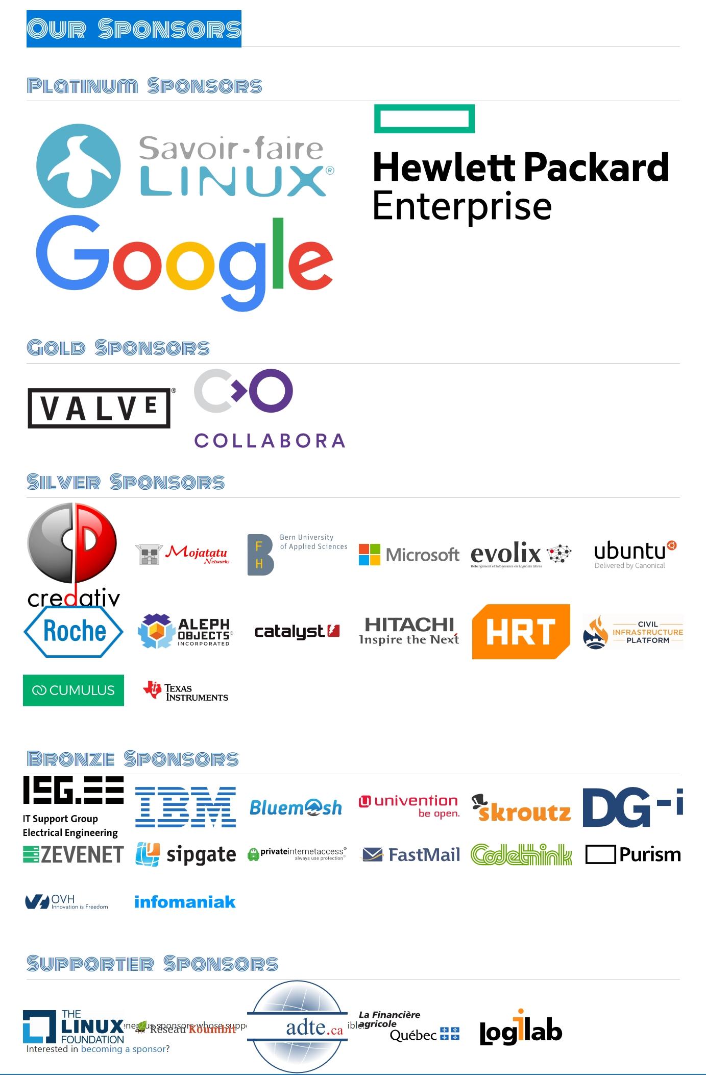 Les partenaires et sponsors du projet Debian