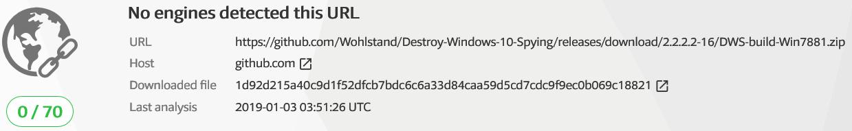 Pas de virus dans le fork de DWS