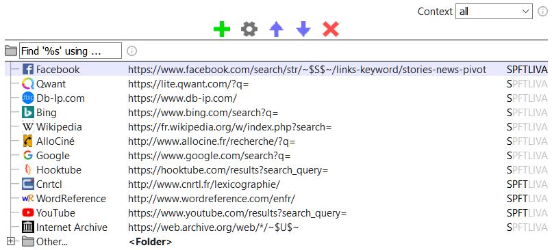 Le moteur de recherche d'articles Facebook dans Select Context Search