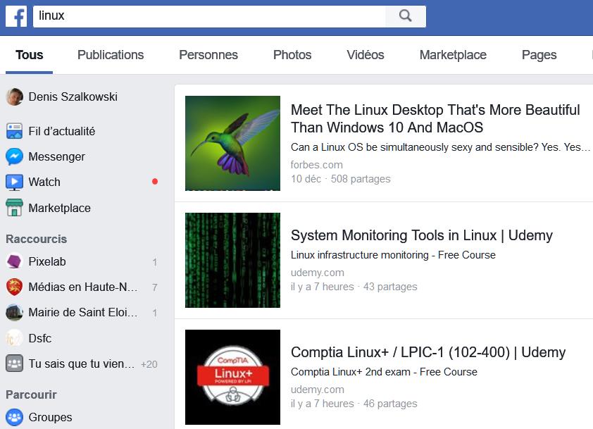 Recherche des articles consacrés à Linux dans Facebook