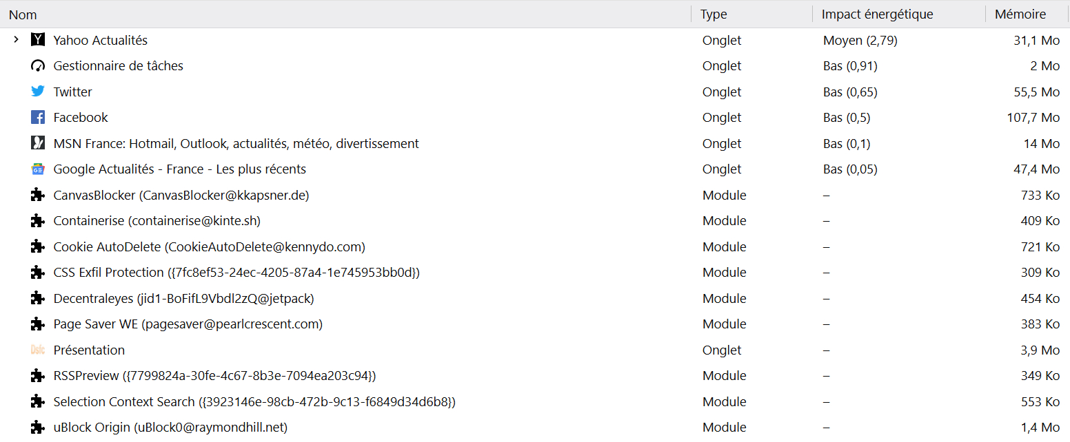La nouvelle console about:performance de Firefox