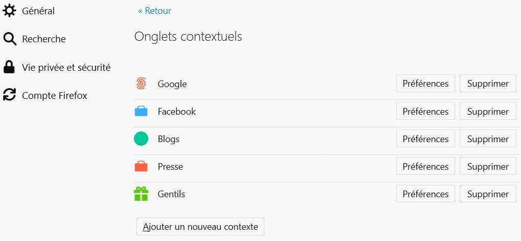 Création des containers dans Firefox