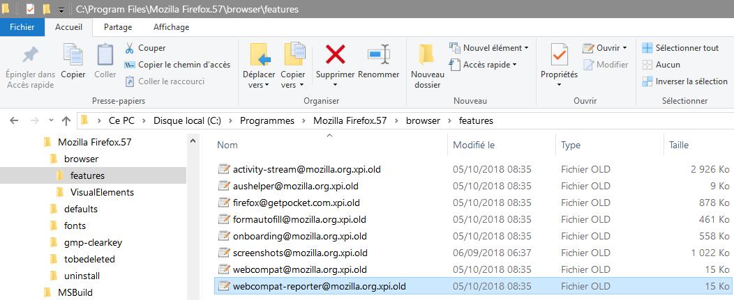 Désactiver les extensions cachées de Firefox