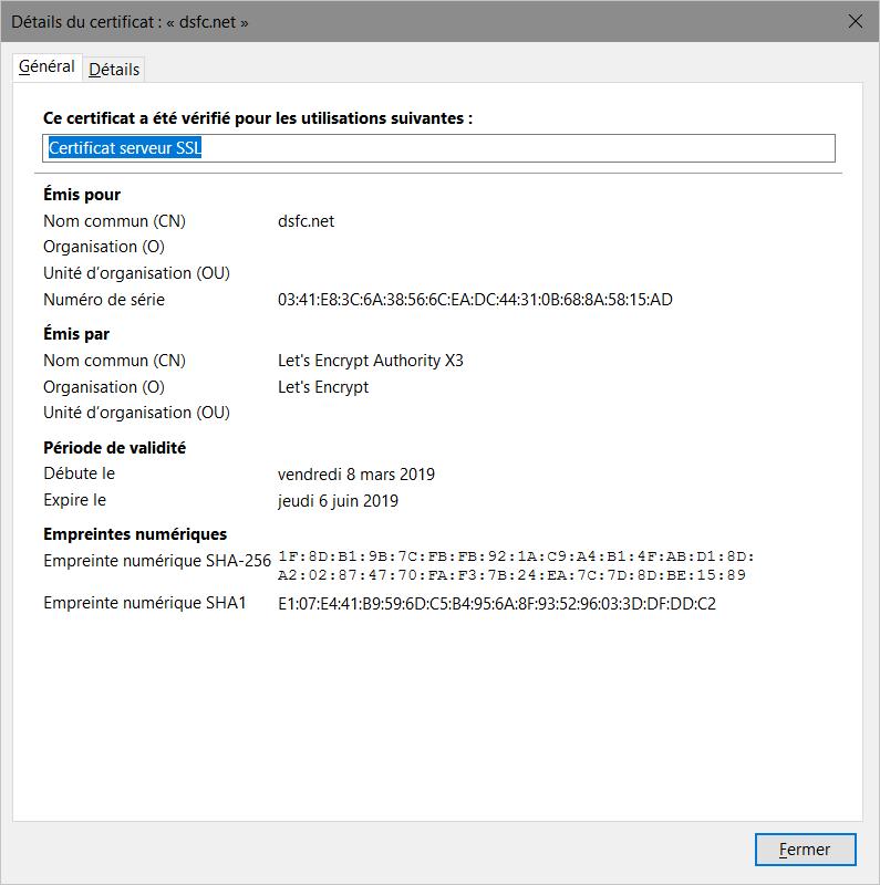 Firefox > Détails du certificat