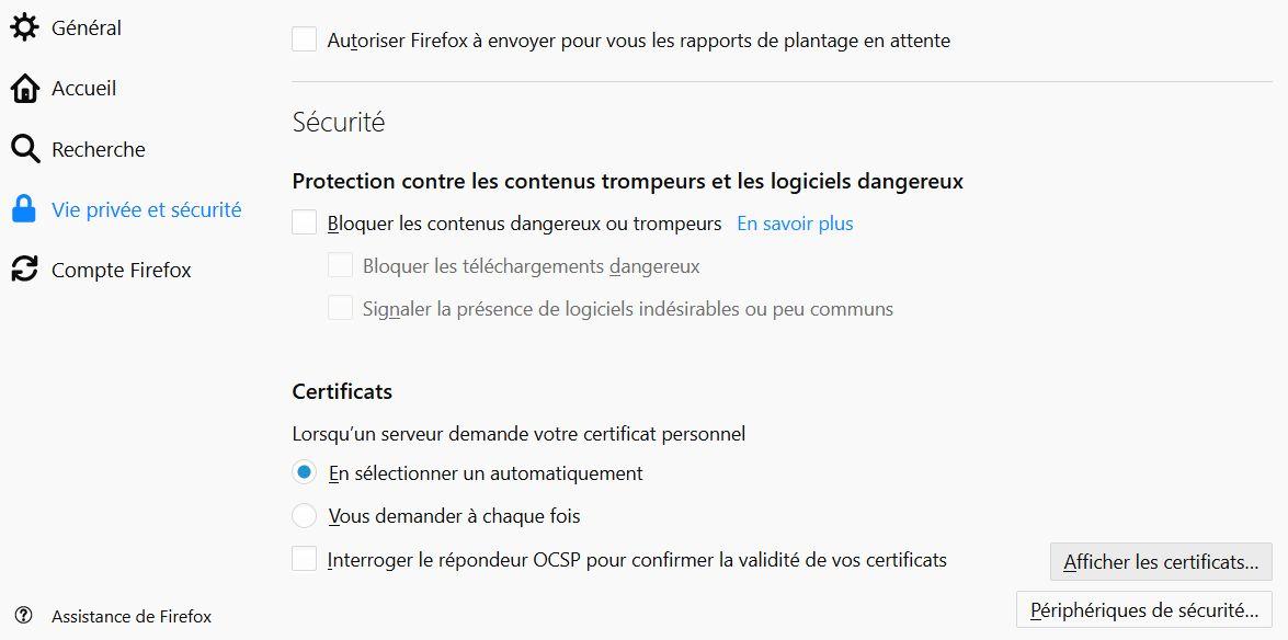 Firefox > Options > Vie privée et sécurité > Certificats > Afficher les certificats