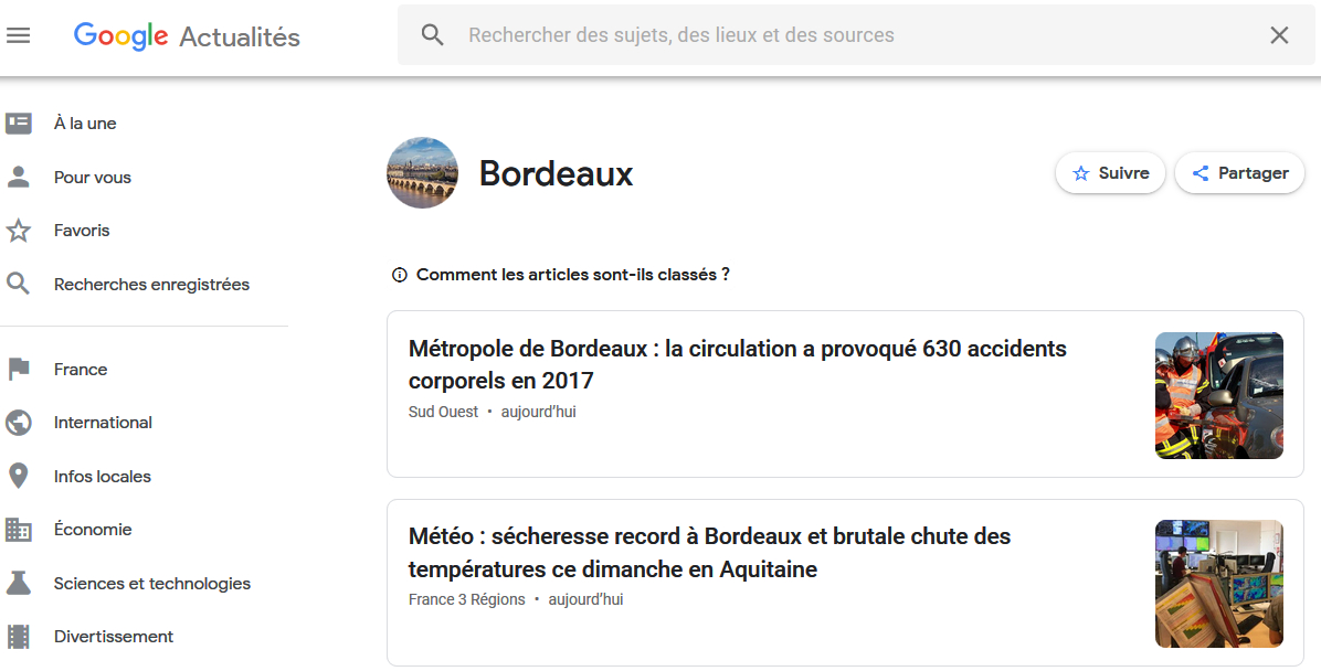 La description d'articles disparue de Google News