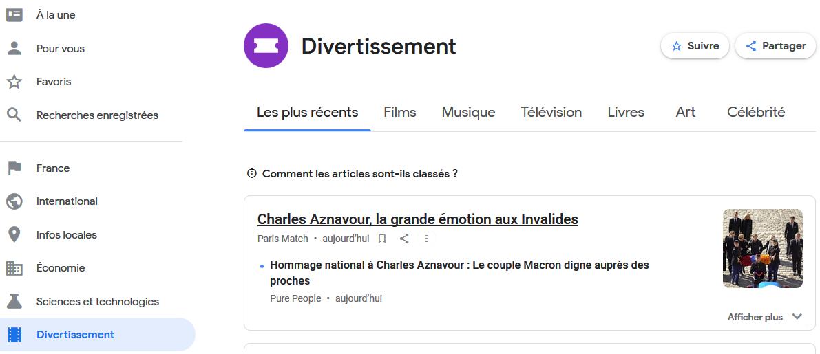 L'hommage à Aznavour dans la page Divertissement de Google Actualités