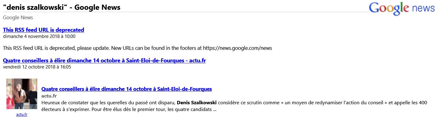 Google Actualités via RSS