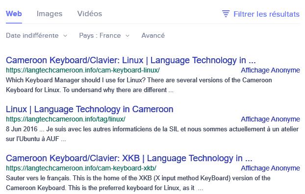 Les résultats de recherche au Cameroun sur Linux