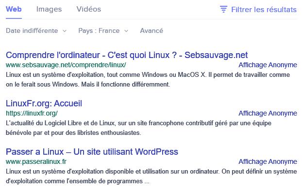 Les résultats de recherche en France sur Linux