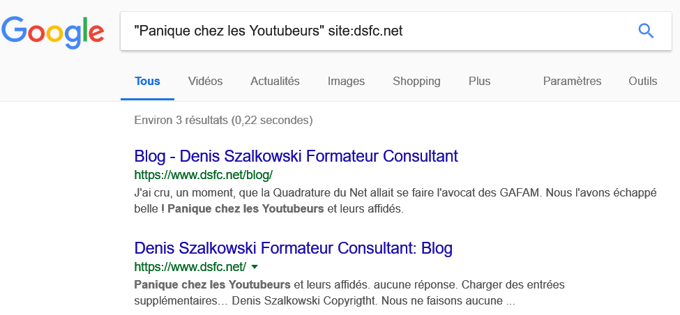 "Google Search > ""Panique chez les Youtubeurs"" site:dsfc.net"