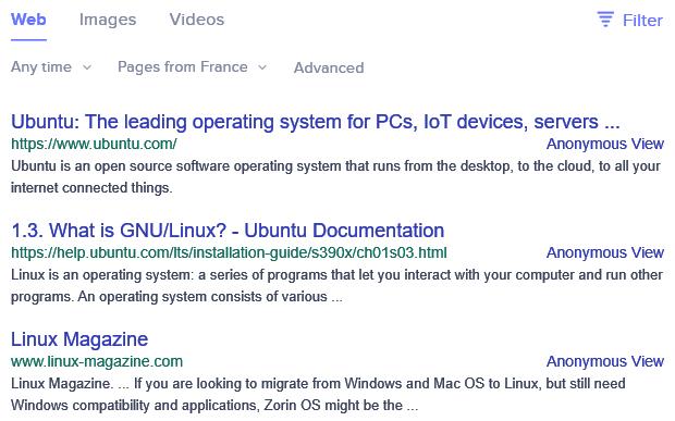 Les résultats de recherche au Royaume-Uni sur Linux