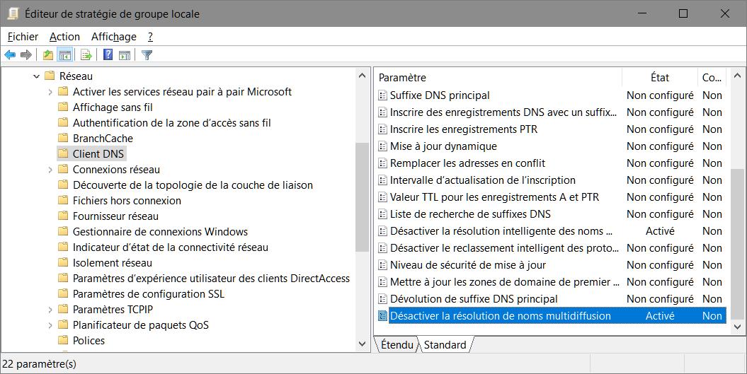 gpedit.msc > Configuration ordinateur > Modèles d'administration > Réseau > Client DNS > Désactiver la résolution de noms multidiffusion