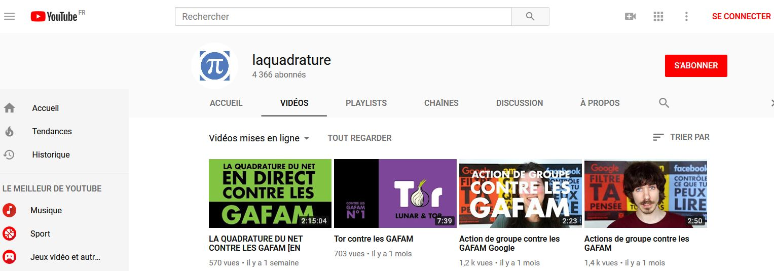 La Quadrature du Net sur Youtube