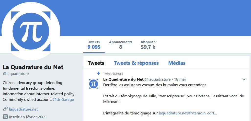 La Quadrature du Net sur Twitter