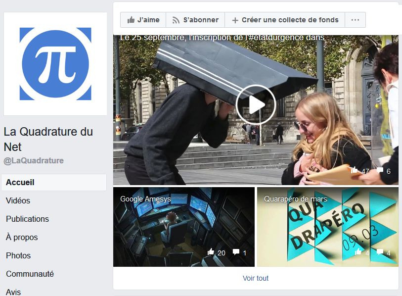 La Quadrature du Net sur Facebook